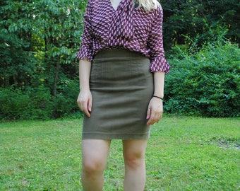 Vintage Skirt, High Waist, Express Skirt, Vintage Express, Fitted Skirt, Cotton Skirt, Small Skirt, Dark Green, Brown, Vintage Clothing