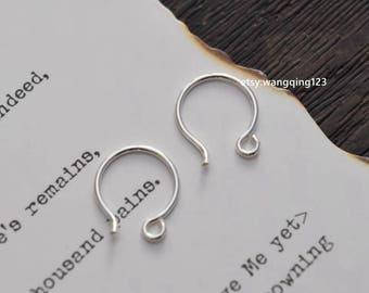 6 pieces (3 pairs)   925 sterling silver 10mm hook earring with loop findings earring component open hoop hooks