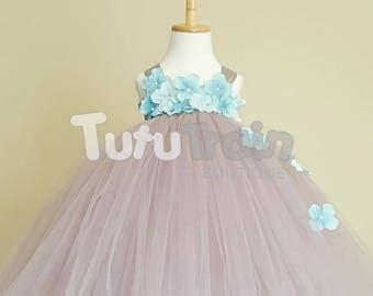 Silver and Aqua Flower Girl Tutu Dress, Silver Tutu, Gray and Aqua Dress, Birthday Party Outfit, Photo Prop, Flower Girl Dress, Flower Dress