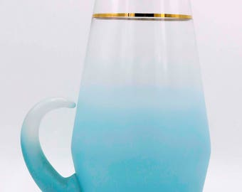Blendo Turquoise Pitcher, Vintage, Kitchenware, Glass Pitcher