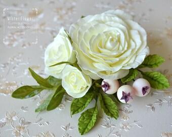Ivory Wedding Flower Bridesmaid Hair clip Ivory Rose Gift for her Ivory Wedding Hair Piece Pastel wedding Spring Boho hair accessories Bride
