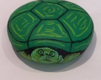 Turtle stone painted hand made 3D