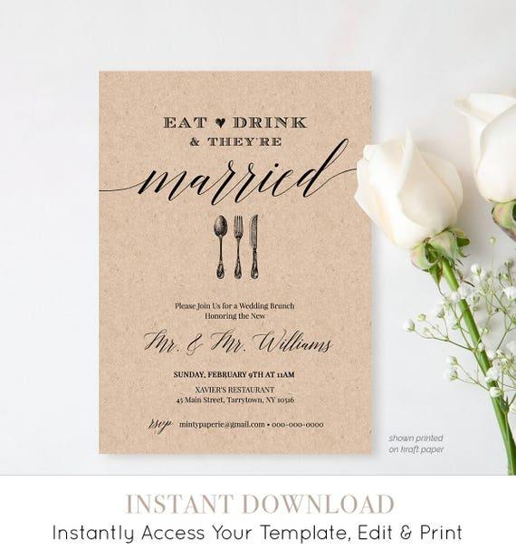 Post Wedding Brunch Invitation Template, Printable Brunch Invite, Eat Drink Married, Instant Download, Editable Template, Digital #NC-102BR