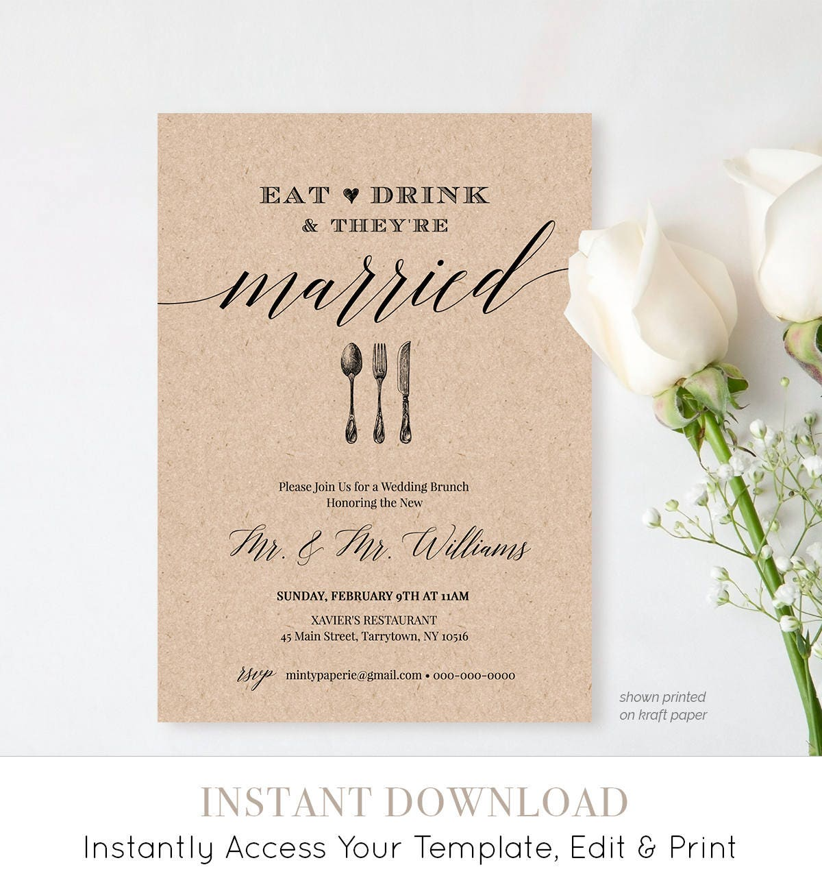 Post wedding brunch invitation template printable brunch for Wedding brunch invitations