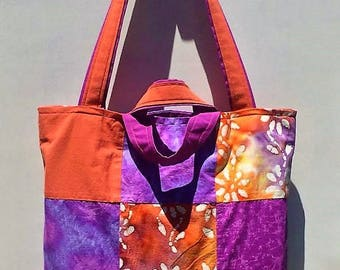 Tote Bag Tie-Dye Floral Patchwork Purple and Orange