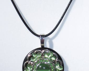 Green Cat's Eye Button Necklace, Green Rhinestones, Pendant Necklace, Jewelry, Button Necklace, Pendant Necklace, 18 inch Leather