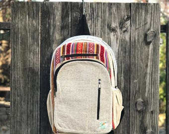 Tribal Himalayan Hemp backpack, Padded Laptop
