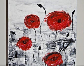 Sahar Silo Original Red Roses Acrylic Painting 16 X 12 Signed