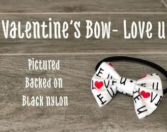 Valentine's Day- Love U Bow
