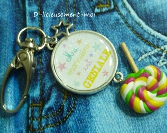 Bag cabochon snap charm Keychain godmother is funky and star polymer clay lollipop