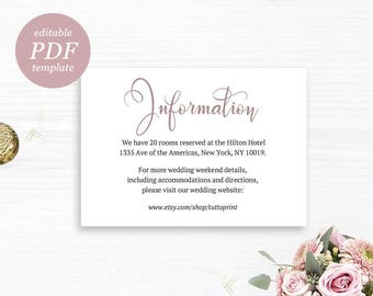 Wedding Details Printable Card in Mauve Pink, DIY Editable Wedding Information, Customizable Wedding Info, Enclosure Insert, PDF Template