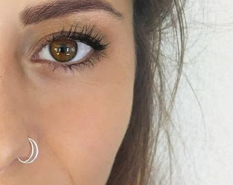 Moon Nose Ring Crescent Moon, Half Moon Nose Jewelry, Boho Hoop Piercing, Tragus, Double Septum Hoop Ring, Rook, Hippie Nose Ring