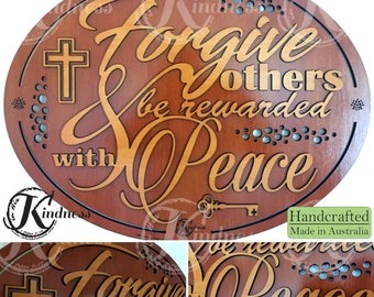 Wooden Wall Art, Forgive Others and Be Rewarded with Peace, Inspirational Quote, inspirational gift, home sign decor