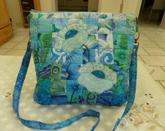 cotton patchwork fabric Kaffe Fassett //sac //sac kawaii flower tote bag / / Blue / / Blue shades