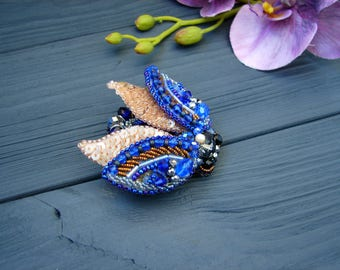 Cicada brooch, Beaded Beetle brooch, Beetle pin, Insect jewelry, Statement jewelry, Insect art, Unique jewelry, Animal jewelry, Bug jewelry