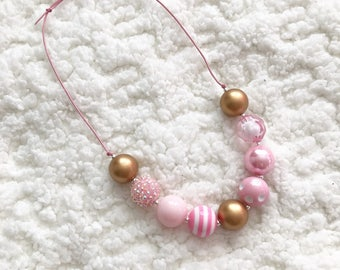 Pink and gold children's necklace