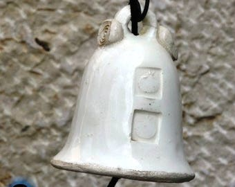 Romantic gifts, white bells, Ceramic bells,, Holiday Bell, pottery bell, indoor bell, outdoor bell, garden decorating, one of a kind, 4500