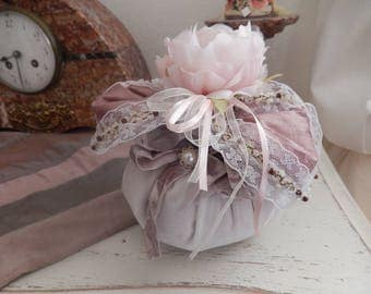 very elegant and decorative silk bag trimmed with beaded lace with an organza flower fresh Lavender