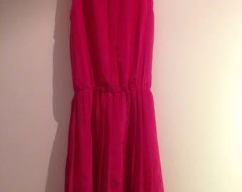Rouge Fuscia Pink A Line Straight Mini Dress / XS / 1980s Summer Dress