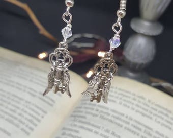 Flying Key - magic - flying key - wings - Crystal - philosopher's stone - witch earrings