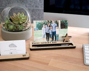 Photo Stand  - Happy Father's Day - Photo Holder with Pen, Desk Caddy, Memory Holder, Quote Display, made from Bamboo
