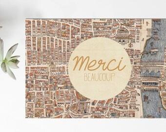 set of 20 mini cards thanks - Paris