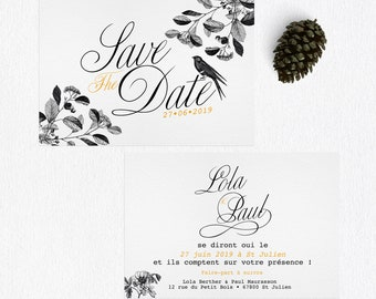 Save the Date Wonderland, save the date original, save the date mariage, papeterie de mariage original, save the date calligraphie