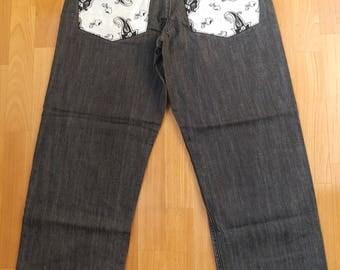 KARL KANI jeans, vintage black baggy Kani jeans loose 90s hip-hop clothing, oldschool 1990s hip hop, OG, gangsta rap, size W 32