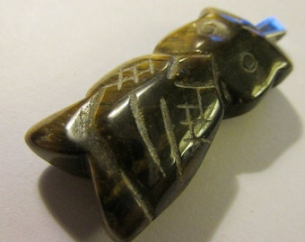 Carved Tiger Eye Gemstone Owl Pendant with Bail, 1 1/2""