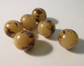 """Natural Palm Seed Beads, 1/2"""", Set of 6"""