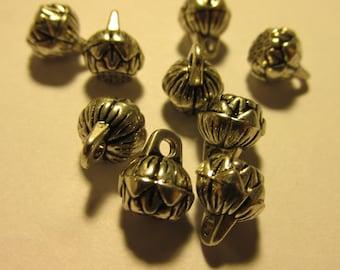 Mini Tibet Silver Lotus Charms, 8mm, Set of 4