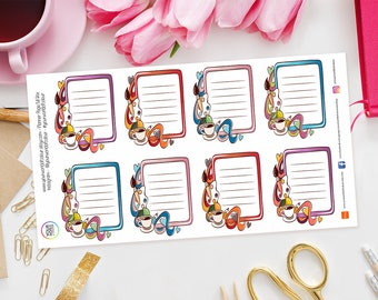 Planner Page Full Box Stickers Erin Condren, Kikki K, Filofax, TN, journal - Crafting, Planning, Art, Notes, To Do