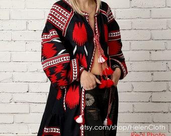 Vyshyvanka Kardigan Dark Blue Linen Embroidered Maxi Dress Ukraine Clothing Boho Style Ethnic Embroidery Kaftan Abaya Robe Wraped dress
