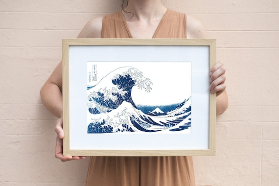 The Great Wave off Kanagawa , Great Wave, Cyanotype Print, Wave Art Decor, Wave Poster, Watercolor, Beautiful Cyanotype Print (Limited Serie