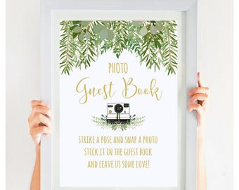 On SALE TODAY, Wedding Photo Guest Book Sign, Greenery Wedding Sign, Garden Wedding, Gold Wedding, Printable, Instant Download, #IDWS604_10S