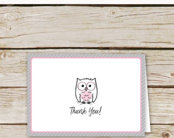 Owl Thank You Cards - Pink Owl Baby Shower Thank You Card - Printable Download - Pink and Gray Baby Shower Thank You Cards - Owl Cards