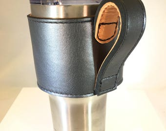 Yeti cup Leather Handle - Italian Gray
