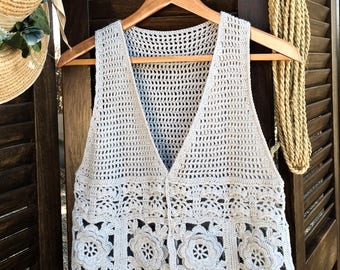 Crochet PATTERN. Boho vest. Instant Download.