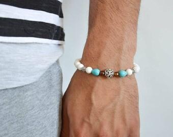 Mens Beaded Bracelet, Lion Bracelet Men, Gift for Him, Made in Greece by Christina Christi Jewels.