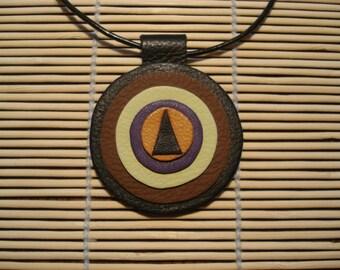 Necklace leather round muticolore