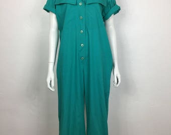 vtg 80s teal cotton military jumpsuit jumper onesie medium