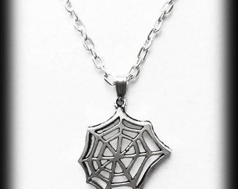 Cobweb Charm Necklace, Gothic Silver Cobweb Pendant, Alternative Jewelry, Handmade Necklace, Halloween Jewelry, Gothic Jewelry Gift For Her