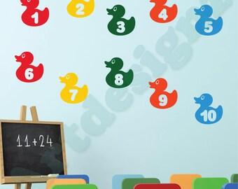 RUBBER DUCKS Numbers 1 to 10 Learning Educational Girls Boys Kids Childrens Bedroom Nursery Vinyl Wall Art Sticker Decal Transfer