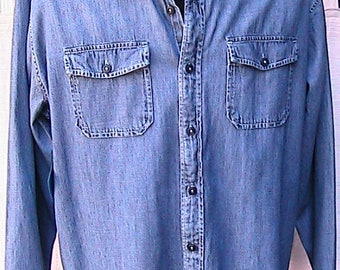XXL Nicely Tailored Vintage 80s Denim Work Shirt