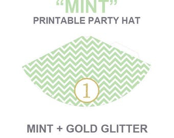 Mint chevron printable Party hat, first birthday party hat,cake smash props,instant download,green party hat