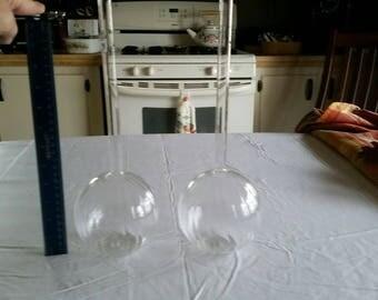 """2 vintage 14.5"""" clear blown glass bulbous flower vases - ribbed lines pumpkin style art deco studio floral decor - glassware centerpiece"""