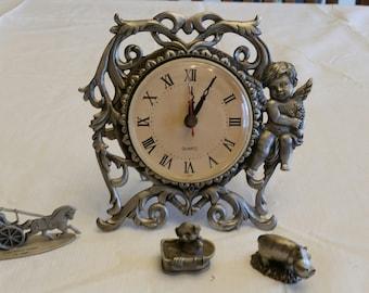 vintage pewter collection - taiwan angel /cherub desk clock - hallmark little gallery pig - hippo - open top surrey sleigh  figures figurine