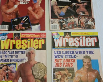 4 vintage pro wrestling magazines - the wrestler 1990 - 1991  - wwe wwf awa ecw nwa sports flair steamboat sting lugar hogan savage piper #J