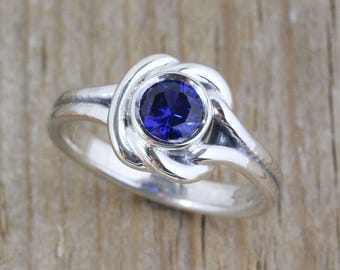 Sapphire Ring, Sapphire Promise Ring, Sapphire Anniversary Ring, Sterling Silver Ring, Statement Ring, Celtic Ring, Christmas Gift for her