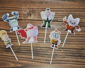 Captain Underpants Cupcake Topper - Captain Underpants Birthday